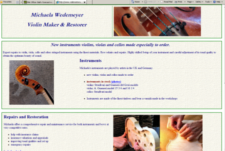 Violin Restoration website screenshot